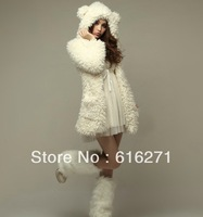 2015 Sale Long Full Winter Jacket Women Cute Teddy Bear Ear Cap Of New Fund Of Autumn Winters Is Fluffy Coat Free Shipping C044