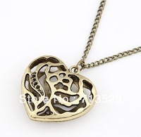 Min order $10(Mix order) Pierced Heart Pendant Necklace rose