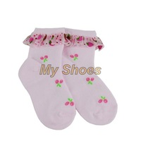 Cute Baby Girl's Sock Kid Sweet Lace Edge Soft Ankle High Socks Printing Sock 2-5 years 2 Colors 13623