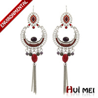 Fashion Women's Gold Plated Ethnic Red Resin Beads Long Tassel Pendants Statement Drop Earrings Brand Jewelry for Girls