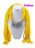 Free Shipping Water Drop Shape Pendant Scarf Alloy Charm Jewelry Necklace Scarves A0027