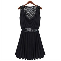 LACE BACK DRAPED SLEEVELESS COWL NECKLINE PLEATED BLACK PARTY DRESS BLACK W3109