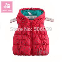 Fashion children's clothing autumn and winter female child vest polka dot cotton liner baby zipper vest cotton vest
