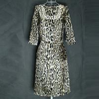 Faux silk fashion leopard print snakeskin print elegant vintage slim high waist half sleeve one-piece dress