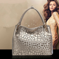 Promotion! 2014 New QISIPOLO brand silver women 100% geuine leather handbag tassel fashion classic big designer bag freeshipC31