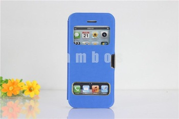 200pcs/lot PU Leather Flip Cover Case Dual S View for iPhone 5CFree Shipping
