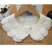Hot Sale Women's Fashion Hand-crocheted Wool Pearl Fake Collar Shirt Sweater Collar WF-51217