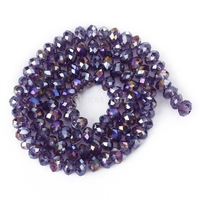Free Shipping 4 x 6mm Faceted Crystal Glass Rondelle Loose Beads 16.5 Inch - Violet