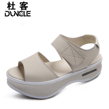 Platform shoes female sandals female flat sandals open toe platform sandals platform swing shoes negative heel