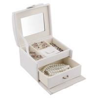 Jewelry box white jewelry storage box exquisite sheepskin dsmv jewelry box birthday gift