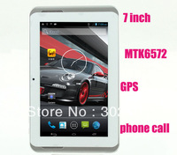 30 pcs a lot  MTK6572 tablet pc 7 inch android 4.2 dual core dual camera 3G phone call GPS 512MB 4GB mid