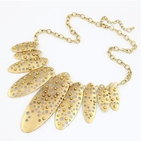 Min order $10(Mix order)Retro metal rivets temperament short necklace oval alloy necklace fashion jewelry