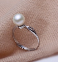 Free shipping 7.0-8.0 mm Natural Pearl Ring Adjustable Ring With Real Round Pearl  For Women