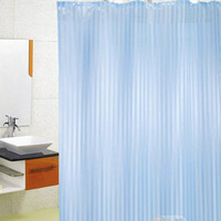 Top Quality Polyester Modern Bathroom Shower Curtain With 12 Hooks Washable Blue TK0907