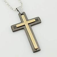 New 2013 Fashion Vintage gold&black Stainless Steel Pendant Men Women Cross Necklace,Crucifix jewelry,Wholesale,VP725