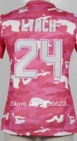 Free shipping - 24 Marshawn Lynch Women's Fashion Jersey-New Pink Camo Football Jersey , Embroidery and Sewing , mix order
