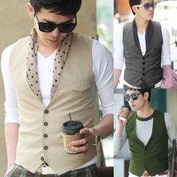 Free Shipping 2013 spring casual suit male vest V-neck suit slim men's commercial vest