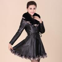 Genuine leather women coat leather clothing sheepskin coat with  fox fur collar rabbit hair turn-down collar female skirt