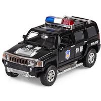 Car toy car WARRIOR alloy car model humvees h3 police car acoustooptical
