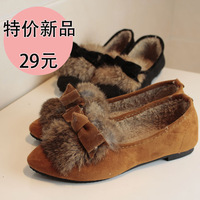 Free Shipping New arrival 2012 rabbit fur single shoes female shoes women's bow flat shoes