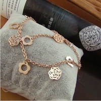 Cutout aesthetic camelias rose gold plated titanium Women anklets fashion color gold anklets