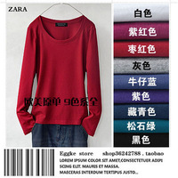 Spring and autumn women t-shirt long-sleeve slim all-match basic shirt o-neck shirt work clothes