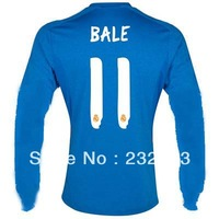 New 13/14 Real Madrid Away #11 Gareth Bale Blue Jersey long sleeve 2013-14 Cheap Soccer Jerseys football kit Hot Free shipping