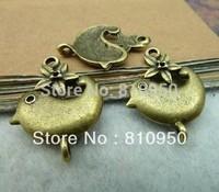 18x23mm  100pcs Antique Bronze Alloy Charms Flower Bird Vintage Charm Pendant Fit DIY jewelry Handmade free shipping