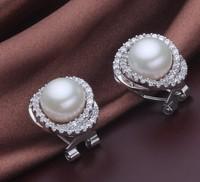 Free shipping Vintage Earrings Pearls 10-10.5mm Very Attractive Earrings Pearl Rhinestone Bridal Jewelry