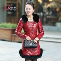 2013 sheepskin fox fur down genuine leather clothing medium-long female white duck down outerwear