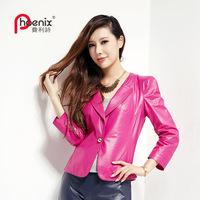 Autumn genuine leather clothing female short design sheepskin ol slim suit jacket small