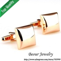 Square shiny lihgt golden cufflinks QY3771 - Free shipping