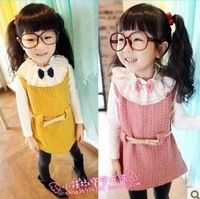 Free Shipping New 2013 Autumn Winter Dress 5 pcs/lot Girls Beautiful Lace Collar Sundress Sleeveless Thickened Dress attach Sash