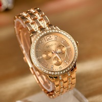 2013 IN Stock  Geneva Diamond Stainless SteelWrist watch Quartz Movement High Quality New Style Lovers gifts