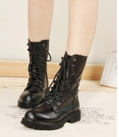 black/red  news shoes for women  martin boots  women short 100%  genuine leahther boots  flat women boots free shipping