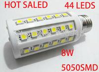 Free Shipping 8W 5050 SMD 44leds LED Corn Bulb Light E27 LED Lamp High Power Cool White /Warm White 220V 5pcs/lot