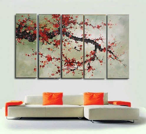 Free Shipping 5 Panel Wall Art Large Cheap Modern Abstract Oil