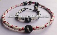 Handmade Frozen Rope Genuine Baseball Leather Necklace & Bracelet Set, 12 set/lot, Free Shipping