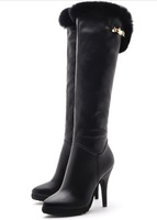 Free shipping 2013 women's fashion genuine leather knee high boots winter plush rabbit fur boots elegant high heels shoes 35-39