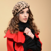 Luxury large leopard print fashion beret spring and autumn  woolen hat  hat  fashion cap