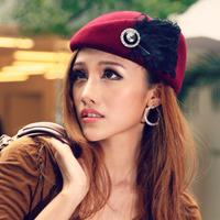 fashion woolen fedoras diamond feather vintage fashion beret cap