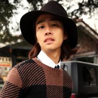 Male pure wool hat   outdoor woolen big fedoras street lovers cap