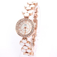 Watch White With Rhinestones Flower Charm Wholesale Fashion Style Casual Rose Gold Plated Bracelet Watches Free Shipping