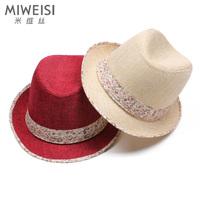 Hat  fashion gentlewomen cap laciness linen jazz fedoras hat sunbonnet gift