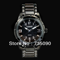 Hot New Black  Classic Luxury Men Quartz Full Steel Brand Wristwatch