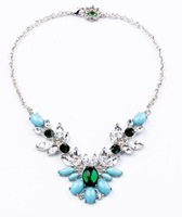 Minimum order 10 USD Free Shipping 2013 New Fashion High Quality Flower Semi-precious Stone Chain Necklace for Women