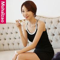 2013 all-match paillette elastic cotton slim elegant spaghetti strap basic vest female