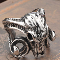Size 8-13 Huge Animal Sheep Skull Open Ring Stainless Steel Retro Personality Punk Man Ring joias masculinas BR8077