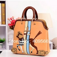 Khaki shoulder bag horse 2013 new fashion winter  high quality women's handbags designer totes shoulder  bags pu leather cute