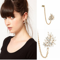 New Design Fashion Jewelry Shining Crystal Flower Ear Clip Gold Plated Long Chains Cuff Earrings AE397